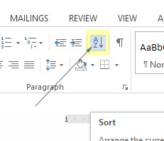 sort button in Microsoft word